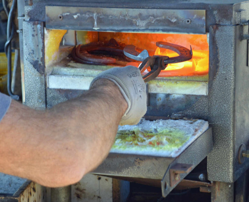 Farriers use a Forge to heat the metal shoes
